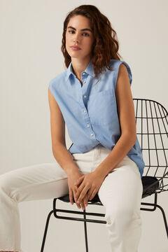 Springfield Sleeveless shoulder pads blouse bluish