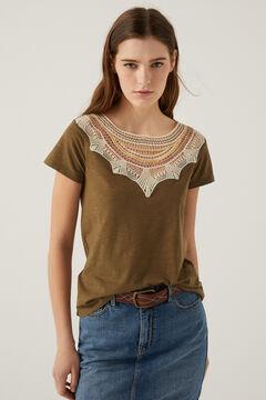 Springfield Crochet collar t-shirt dark gray