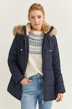 Springfield Down Coat with Fur Hood navy mix