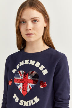 Springfield Two-material Motif and Slogan Sweatshirt blue