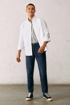 Springfield Slim fit comfort knit jeans in dark wash blue