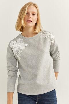 Springfield Virágmintás, csipkés pulóver szürke