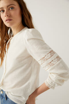 Springfield Crochet details romantic blouse ecru