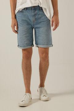 Springfield Essential light wash denim Bermuda shorts blue