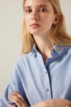 Springfield Oversize organic cotton Oxford blouse navy