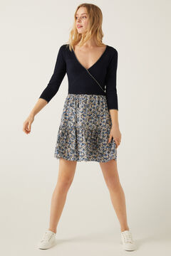 Springfield Two-Material Knitted Dress indigo blue