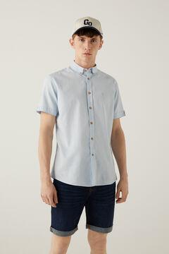 Springfield Camisa dobby manga corta color azul