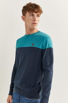 Springfield COLOUR BLOCK MELANGE JUMPER bluish