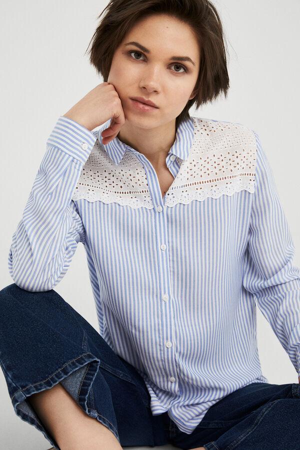 Springfield Camisa puntilla canesú azul 9142f71b907
