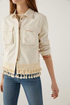 Springfield Crochet tassels jacket beige
