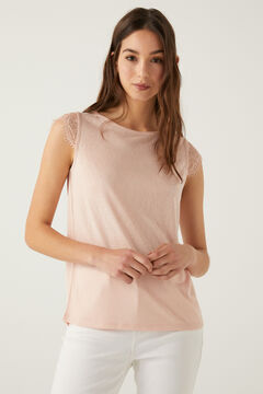 Springfield T-shirt effet lin lace manches rose