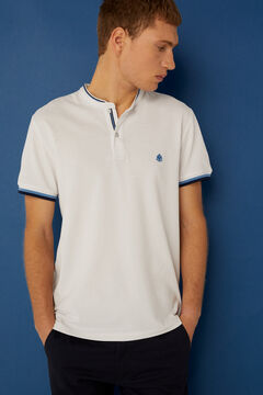 Springfield Slim fit mandarin collar polo shirt with tipping white