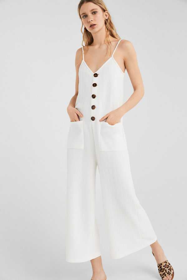f8eff0995e Springfield White jumpsuit with buttons grey