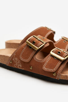 Springfield Embroidered buckle sandal brown