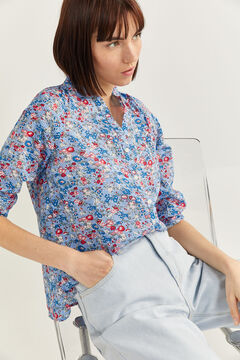 Springfield BLOUSE WITH MANDARIN COLLAR steel blue