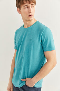 Springfield T-shirt micro-rayure broderie blue