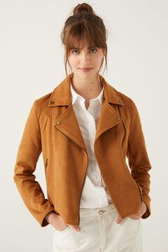 Springfield Suede effect biker jacket camel
