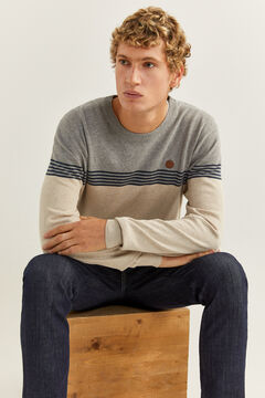 Springfield Essential colour block jumper gray