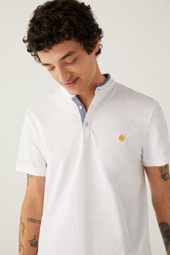 Springfield Slim fit mandarin comfort polo shirt white