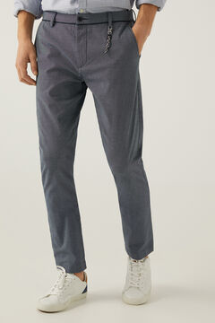 Springfield Textured two-tone formal chinos blue