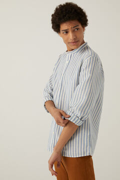 Springfield Striped linen mandarin shirt steel blue