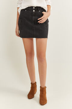 Springfield Denim Skirt Cargo Pockets black