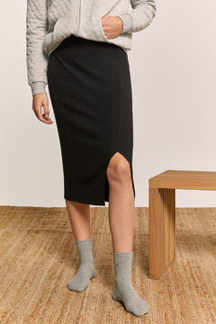 Springfield Ribbed Crossover Skirt black
