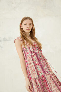 Springfield Long boho border print dress ecru