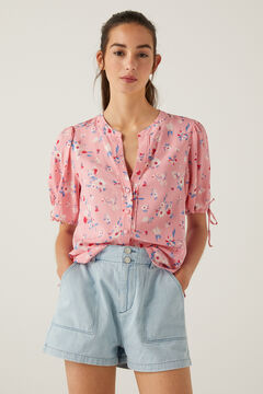 Springfield Printed voluminous sleeves blouse pink