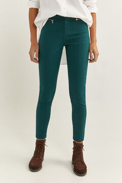 Springfield High Rise Zips Trousers green