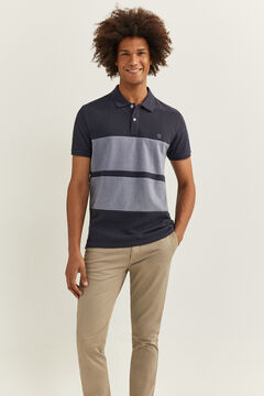 Springfield Slim striped Oxford polo shirt blue
