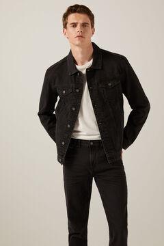 Springfield Washed black denim jacket light gray