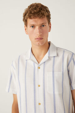Springfield Striped short-sleeved bowling shirt white