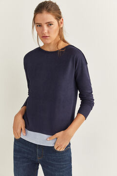 Springfield Two-Material Plaited Detail T-shirt blue