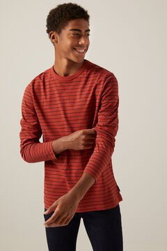 Springfield Long-sleeved striped T-shirt terracotta