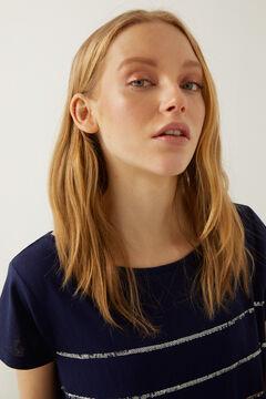 Springfield Camiseta rayas lentejuelas azul acero