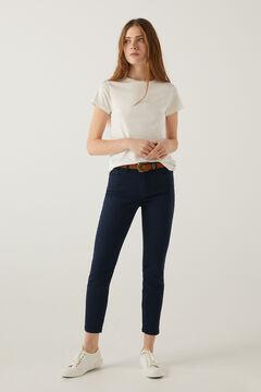 Springfield Pantalon slim cropped eco dye bleu indigo