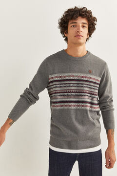 Springfield PATTERNED JACQUARD JUMPER grey