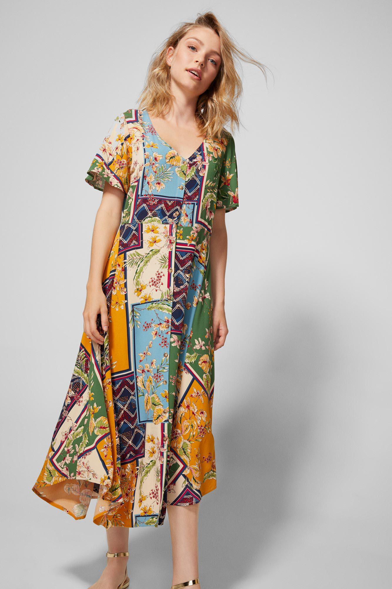 f96f0ba6 Patchwork midi dress | Dresses | Springfield Man & Woman