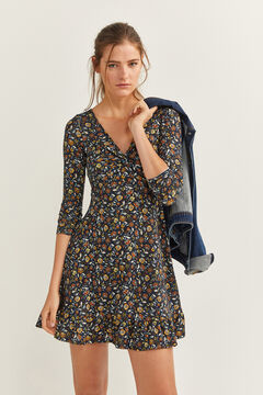 Springfield Printed Knot Neckline Dress blue