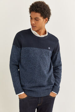 Springfield ORGANIC COTTON COLOUR BLOCK JUMPER blue