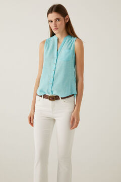 Springfield Tailored organic linen and cotton blouse mallow