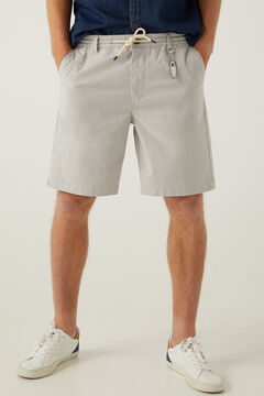 Springfield Striped beach Bermuda shorts with keyring grey