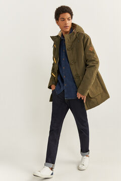 Springfield WATER-REPELLENT QUILTED PARKA WITH SHEEPSKIN dark gray
