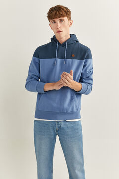 Springfield COLOUR BLOCK HOODED SWEATSHIRT bluish