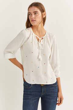 Springfield Embroidered Polka-Dot Blouse natural