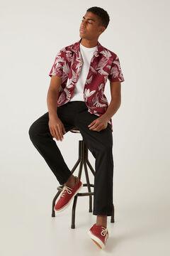 Springfield Tropical print short-sleeved shirt lavender