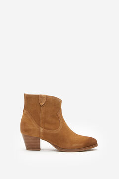 Springfield Split Leather Cowboy Ankle Boot brown