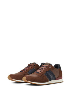 Springfield Two-tone faux leather urban sneakers brown