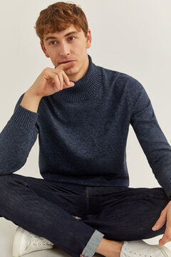 Springfield ORGANIC COTTON POLO NECK JUMPER blue